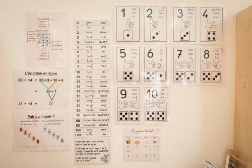 affichage calcul école Montessori Vernouillet